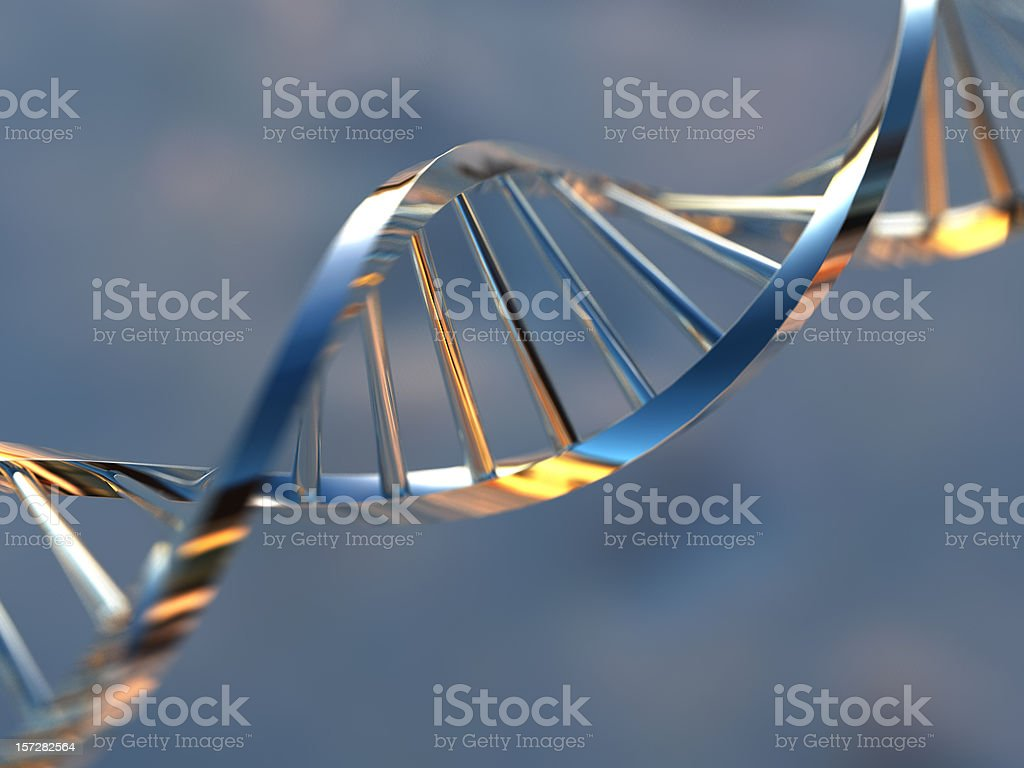 A metallic strand of DNS against a blurred background stock photo
