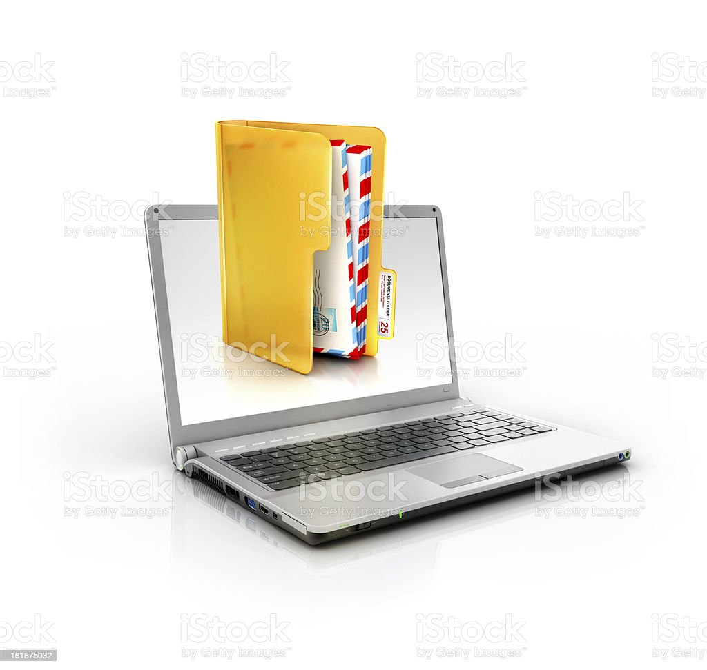 metallic stylish laptop with classic mail envilopes or email inbox stock photo
