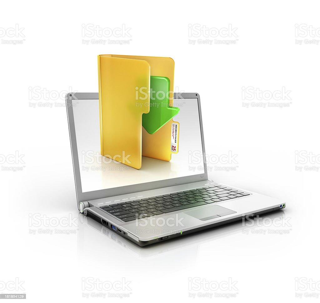 metallic stylish laptop with download folder stock photo