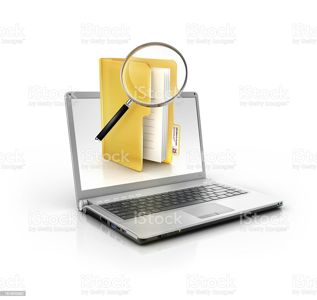 metallic stylish laptop with magnifier glass search in files folder stock photo