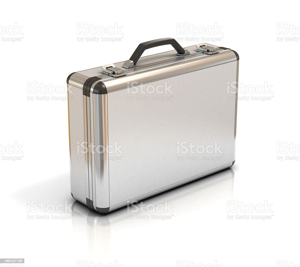 metallic suitcase isolated on white stock photo