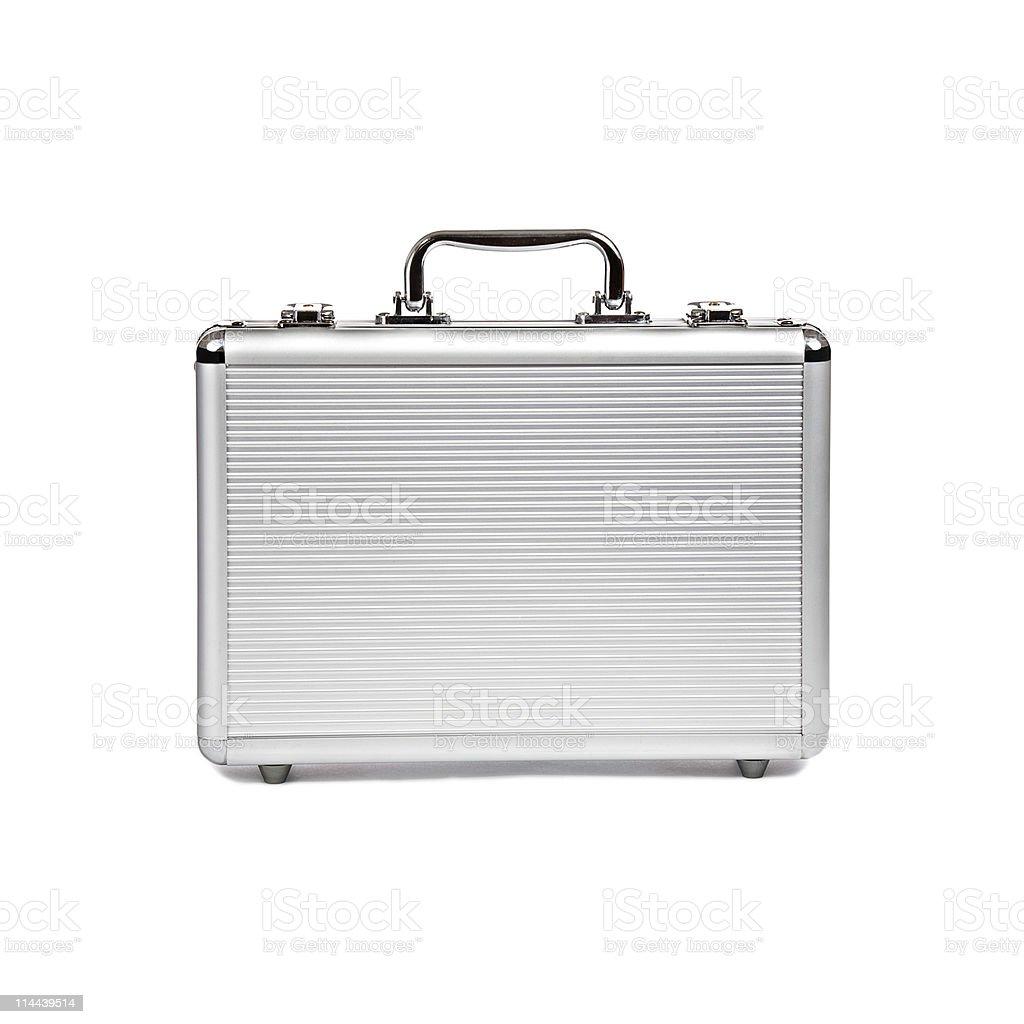 metallic suitcase on white background stock photo