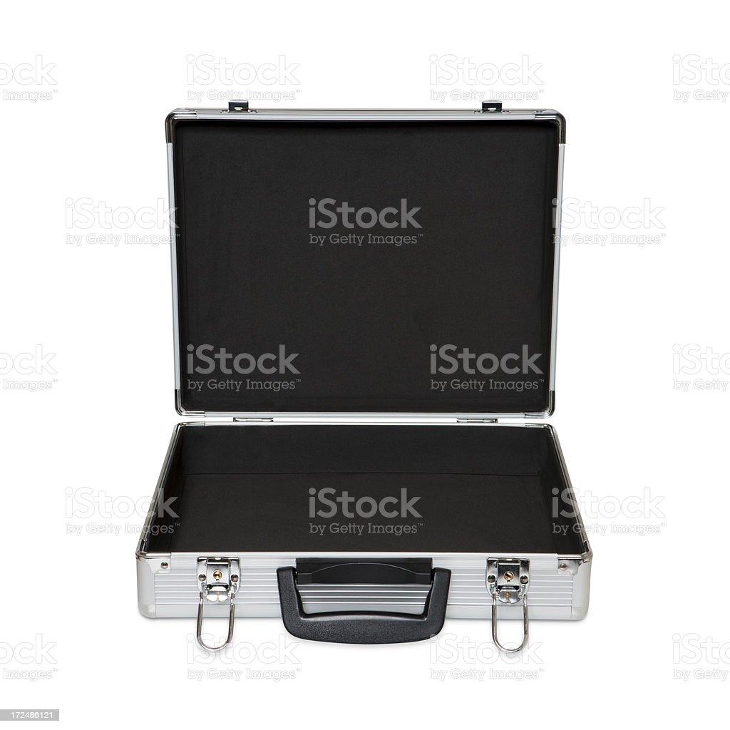 metallic suitcase stock photo