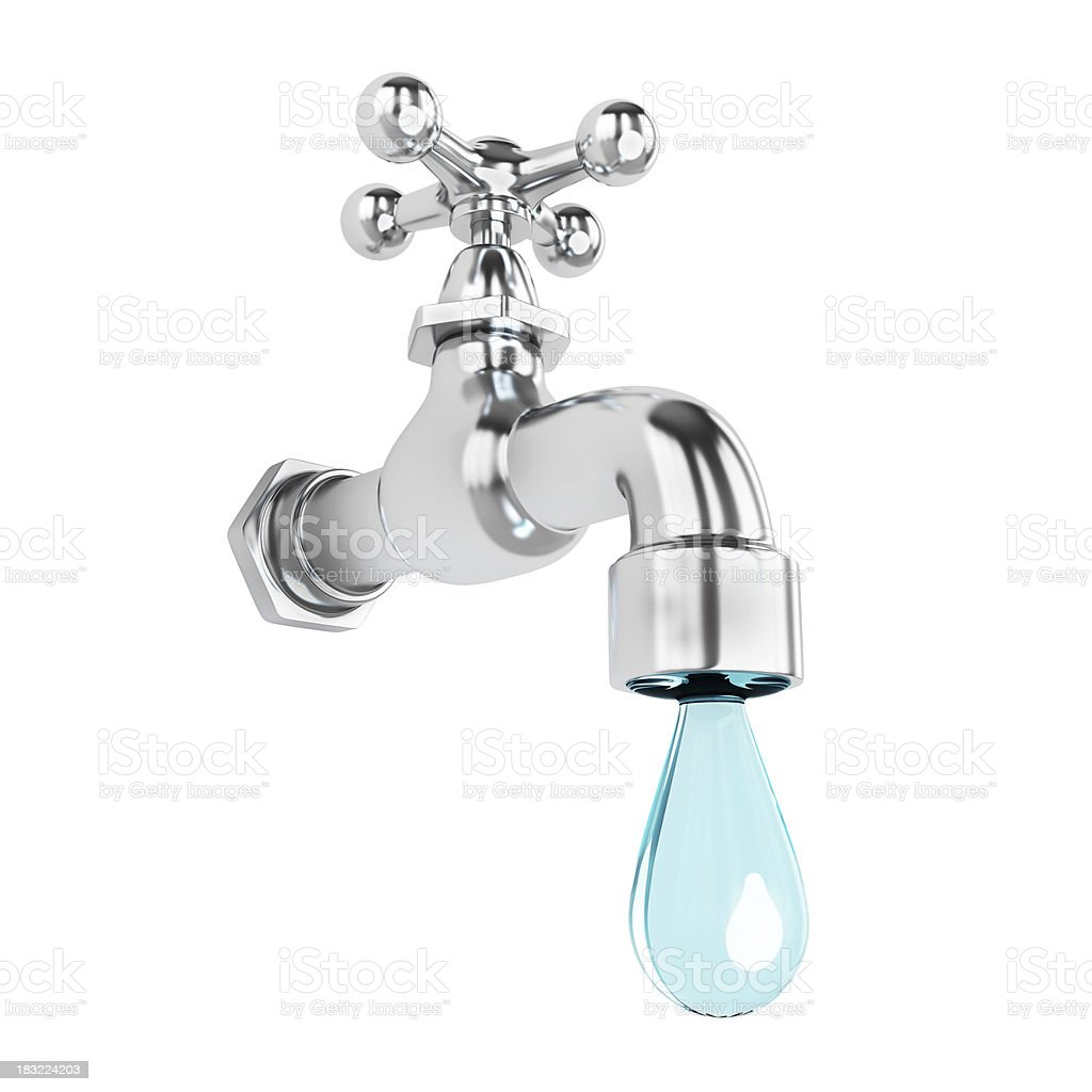 A metallic tap dripping a large drop of water royalty-free stock photo