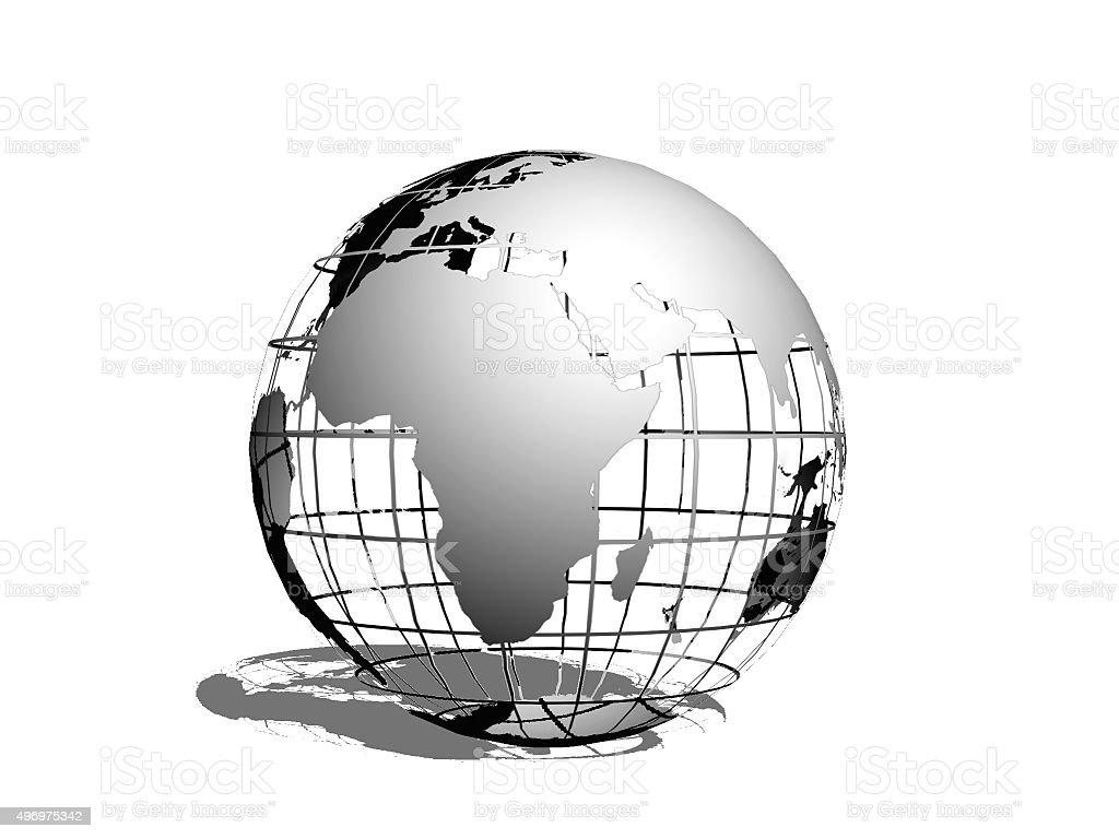 Metallic terrestrial globe stock photo