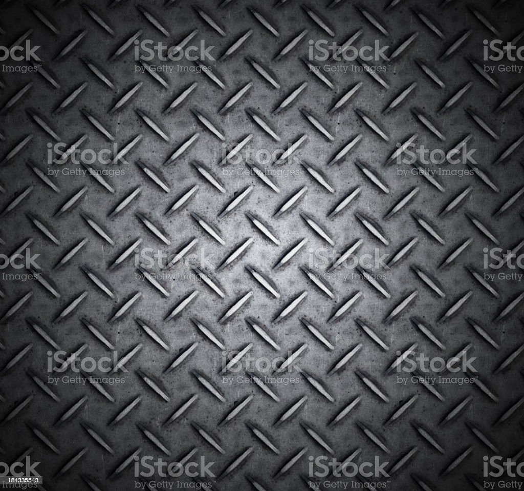 Metallic treaded plate with cross design stock photo