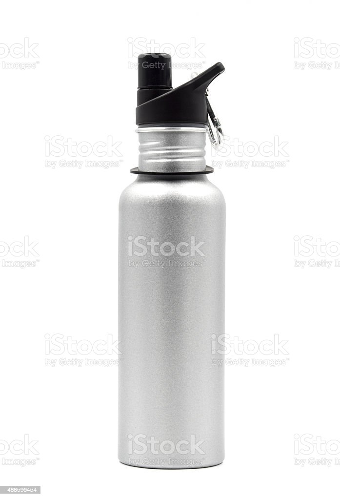 Metallic water bottle with a carabiner clip on white background. stock photo