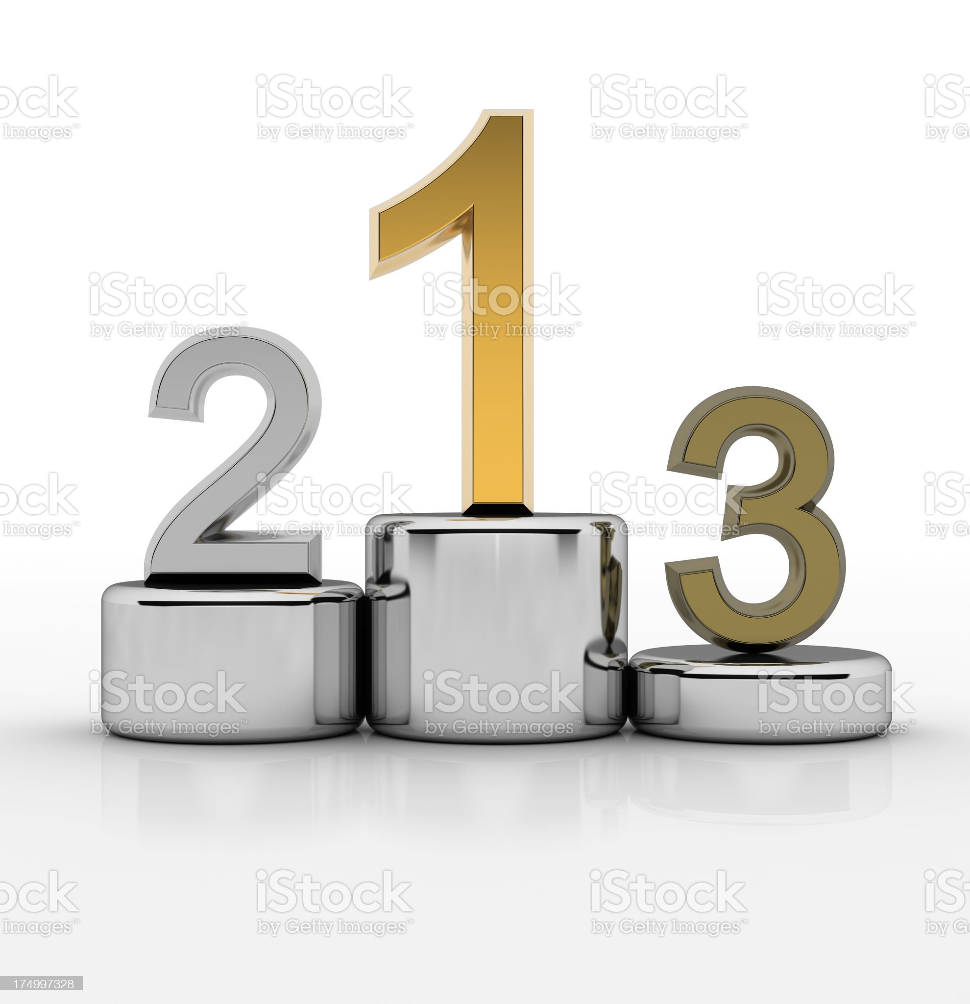 Metallic winners podium with gold silver and bronze royalty-free stock photo