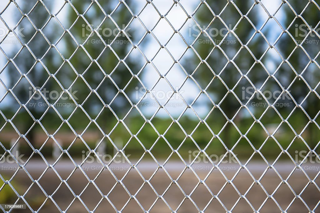 Metallic Wire Chain Link Fence royalty-free stock photo