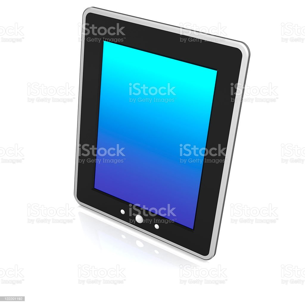 Metallic-framed black-coated tablet stock photo