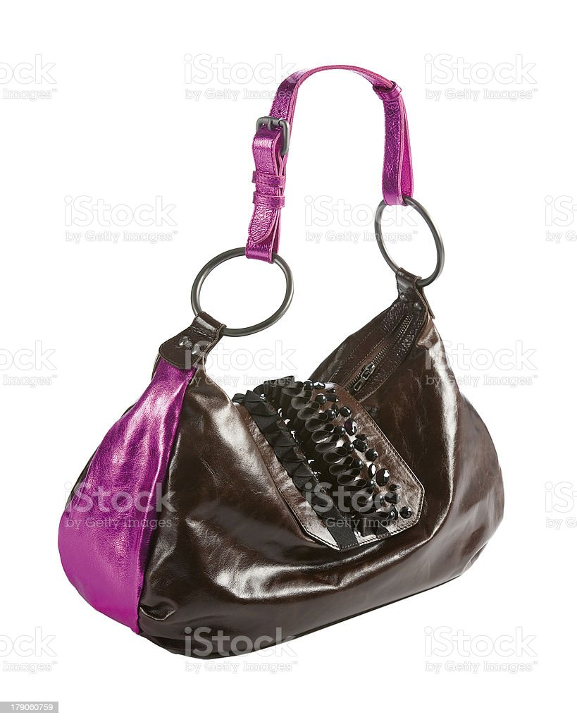 Metallized patent leather tote with frilly beaded carved crystal royalty-free stock photo