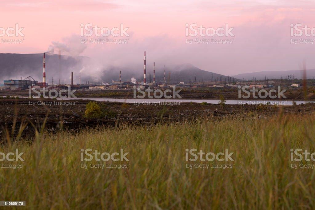 Metallurgical ecology plant stock photo