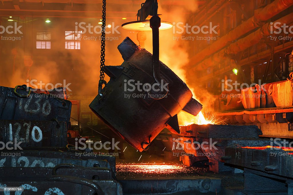 Metallurgical plant, hot metal casting. stock photo