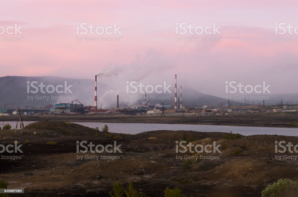 Metallurgical  plant. Pollution of nature stock photo