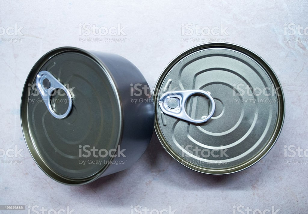 Metal/Tin Cans Overhead View royalty-free stock photo