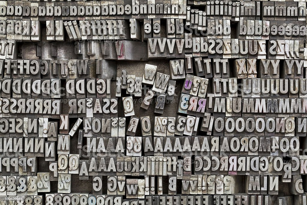 metaltype letterpress printing blocks royalty-free stock photo