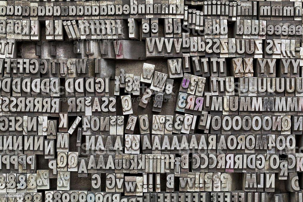 metaltype letterpress printing blocks stock photo