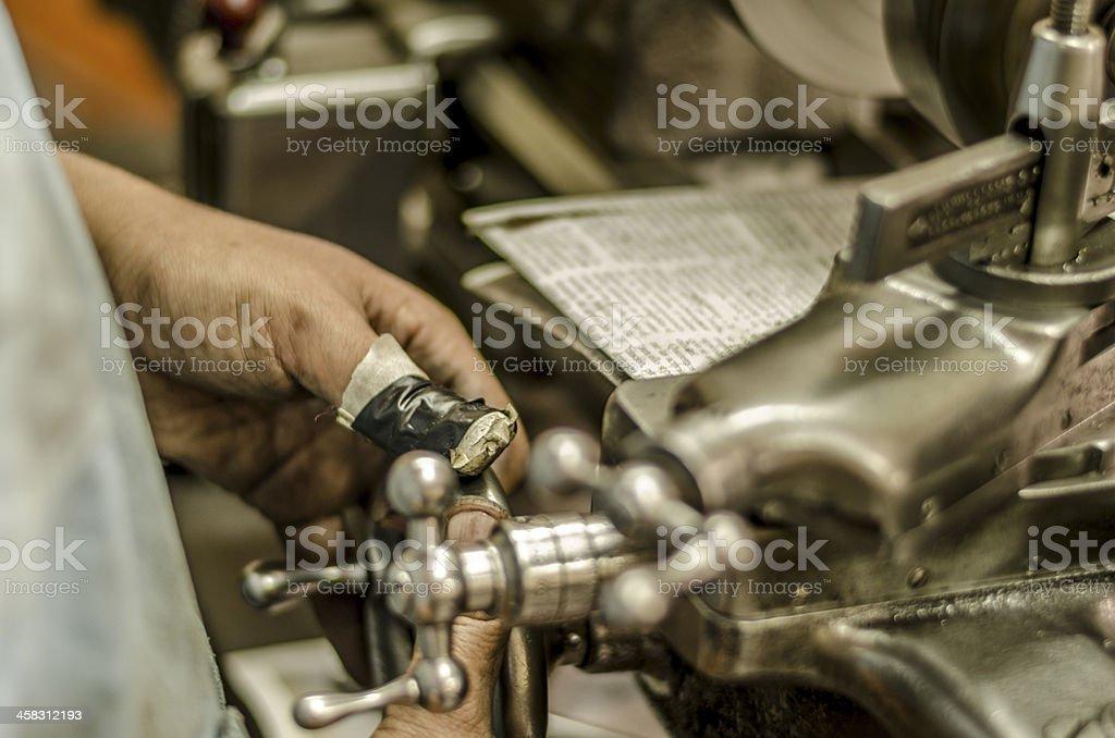 Metalworkers fingers stock photo