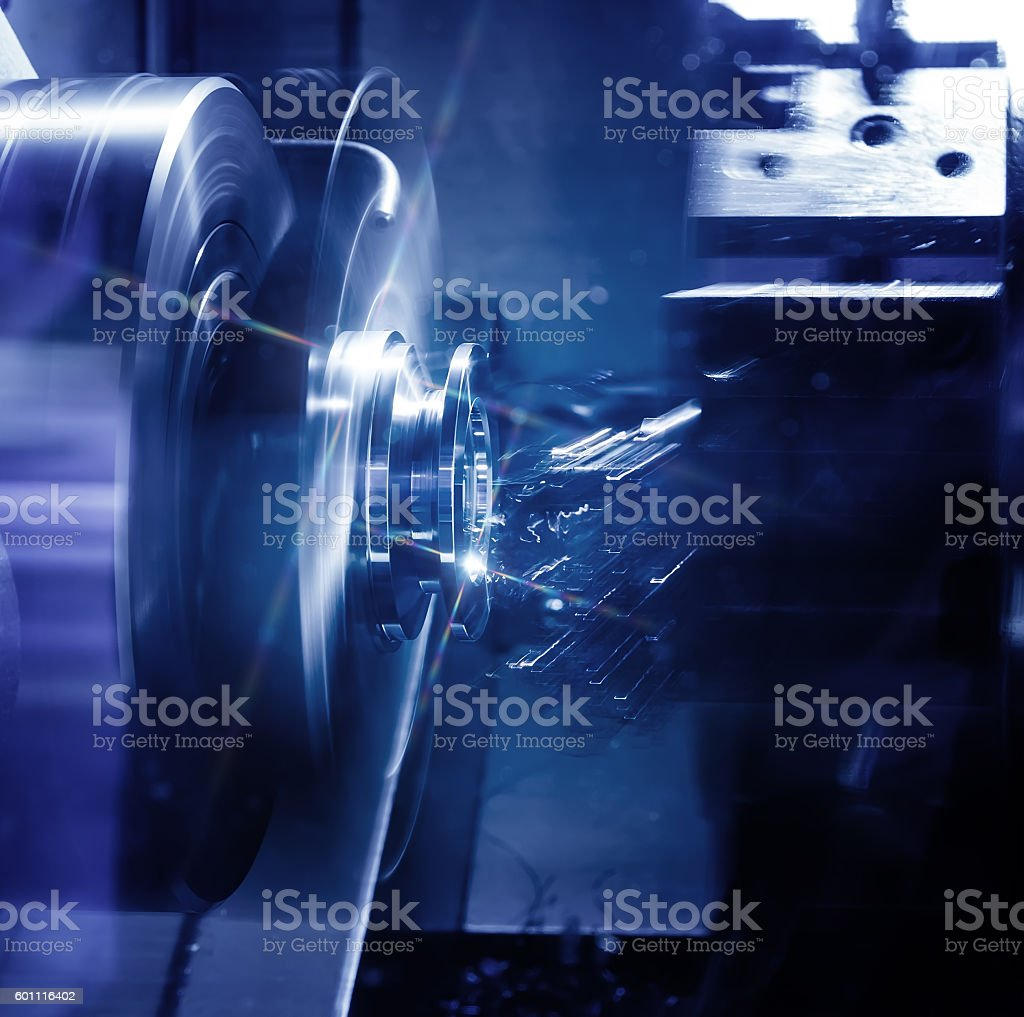 Metalworking CNC milling machine. Cutting metal modern processing technology. stock photo
