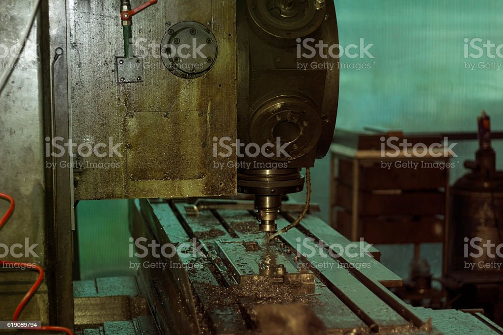 Metalworking CNC milling machine. stock photo