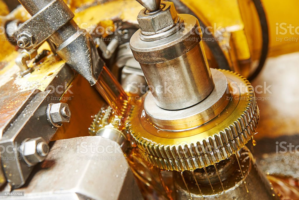 metalworking: gearwheel machining stock photo