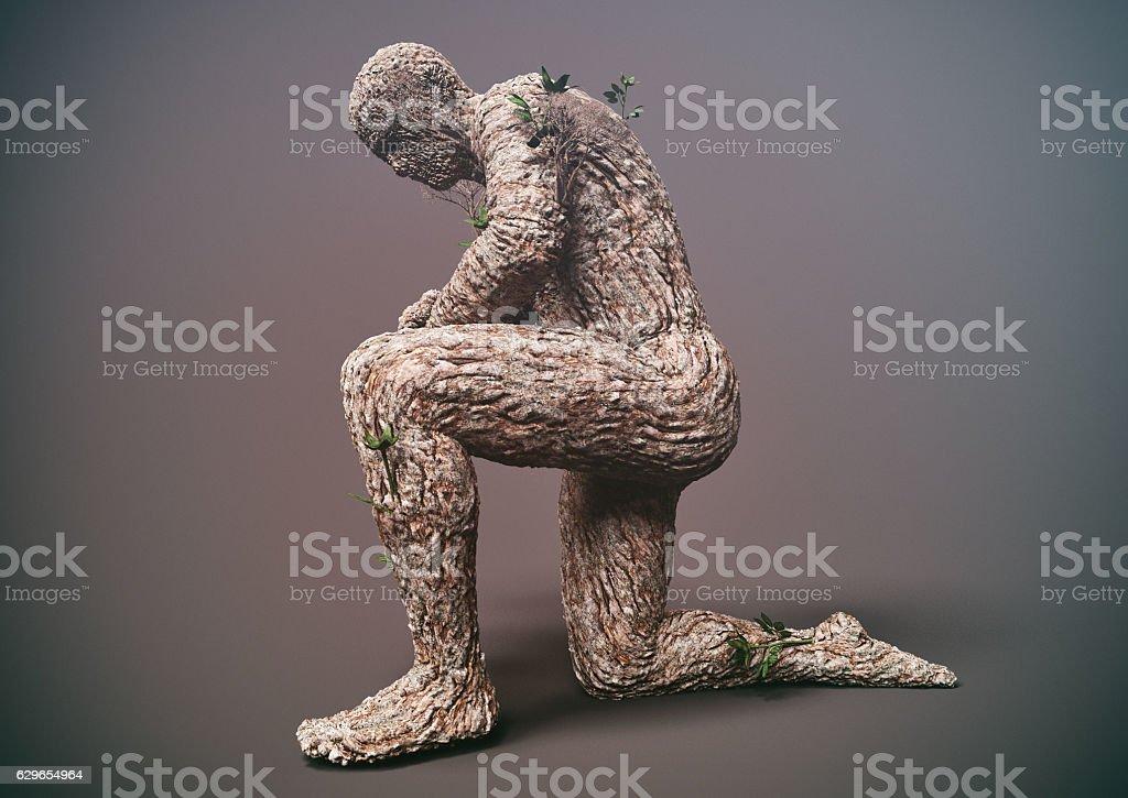 metamorphosis of tree man stock photo