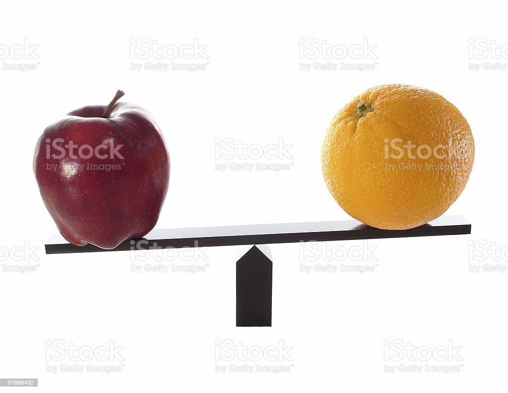 Metaphor compare apples to oranges light (others) stock photo