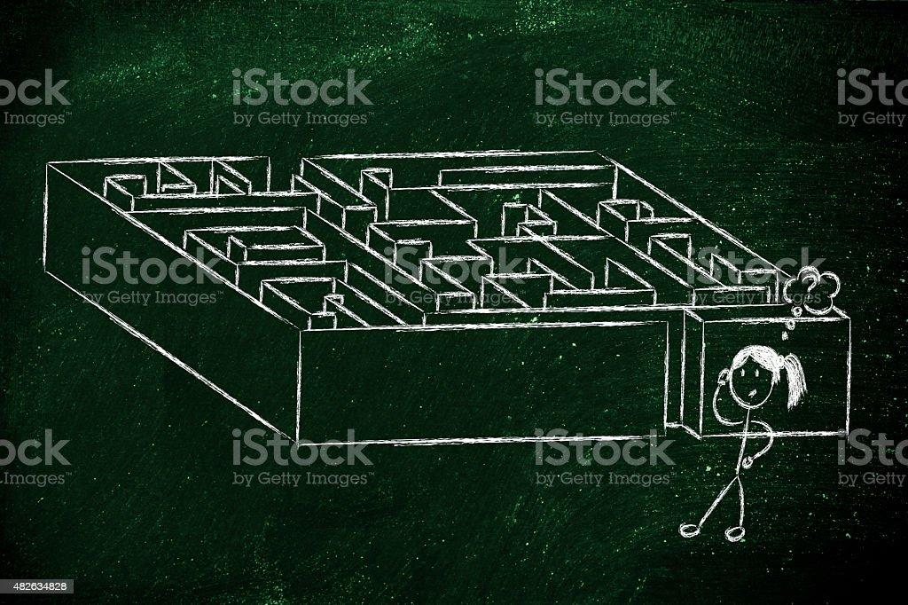 metaphor maze design: find your way stock photo