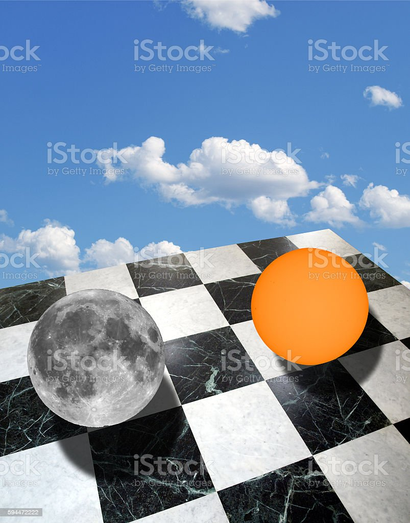 Metaphysical composition with sun and moon stock photo