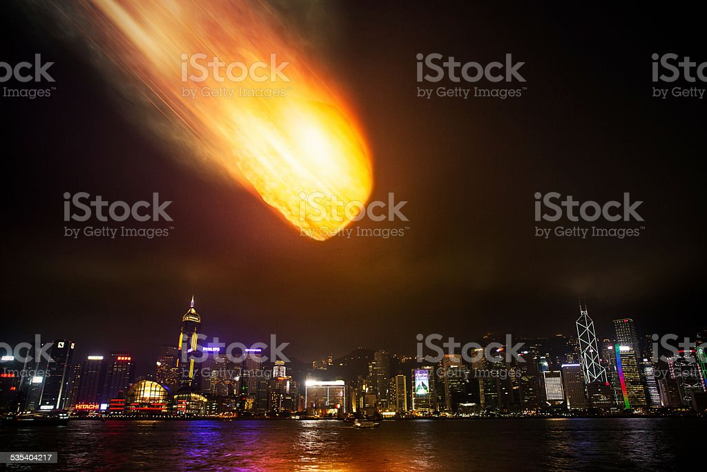 Meteor About to Collide with City stock photo