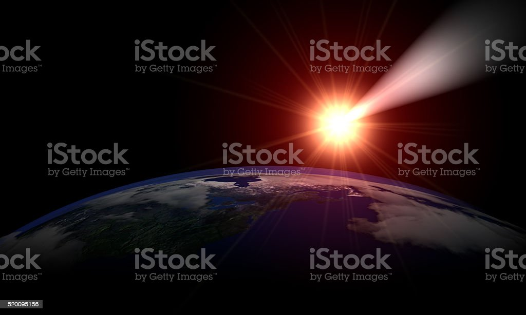 Meteor and Planet Earth stock photo