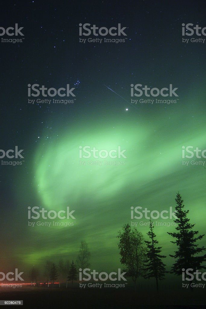 Meteor, Aurora and Pleiades together royalty-free stock photo
