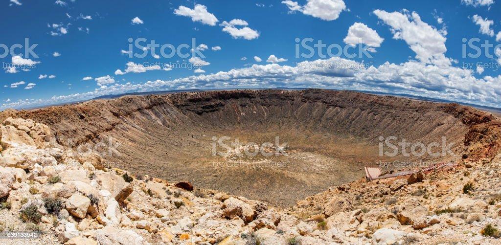 Meteor Crater panoramic view, in Winslow, Arizona, USA stock photo