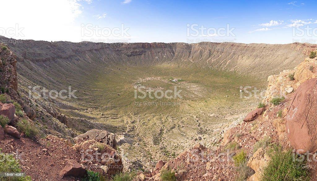 Meteor crater stock photo