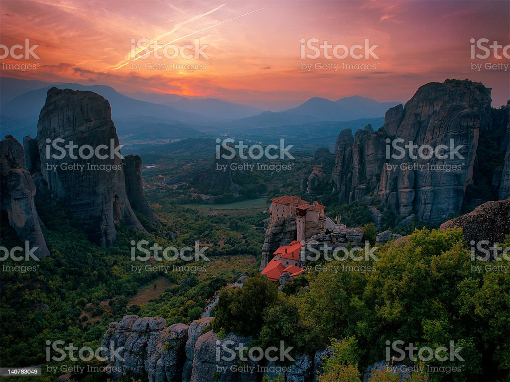 Meteora After The Sunset stock photo