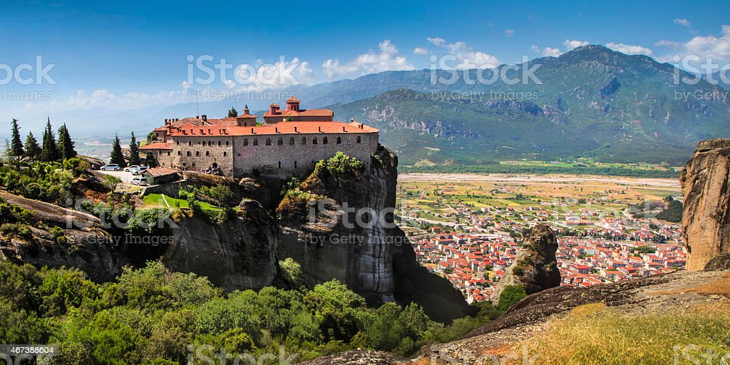 Meteora and Kalambaka stock photo