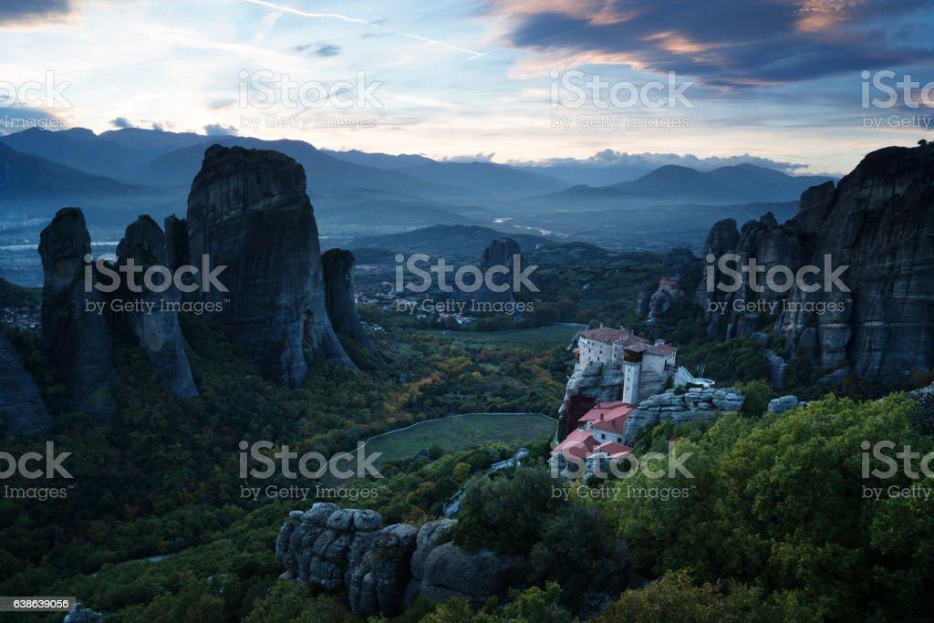 Meteora monasteries after sunset, Greece stock photo