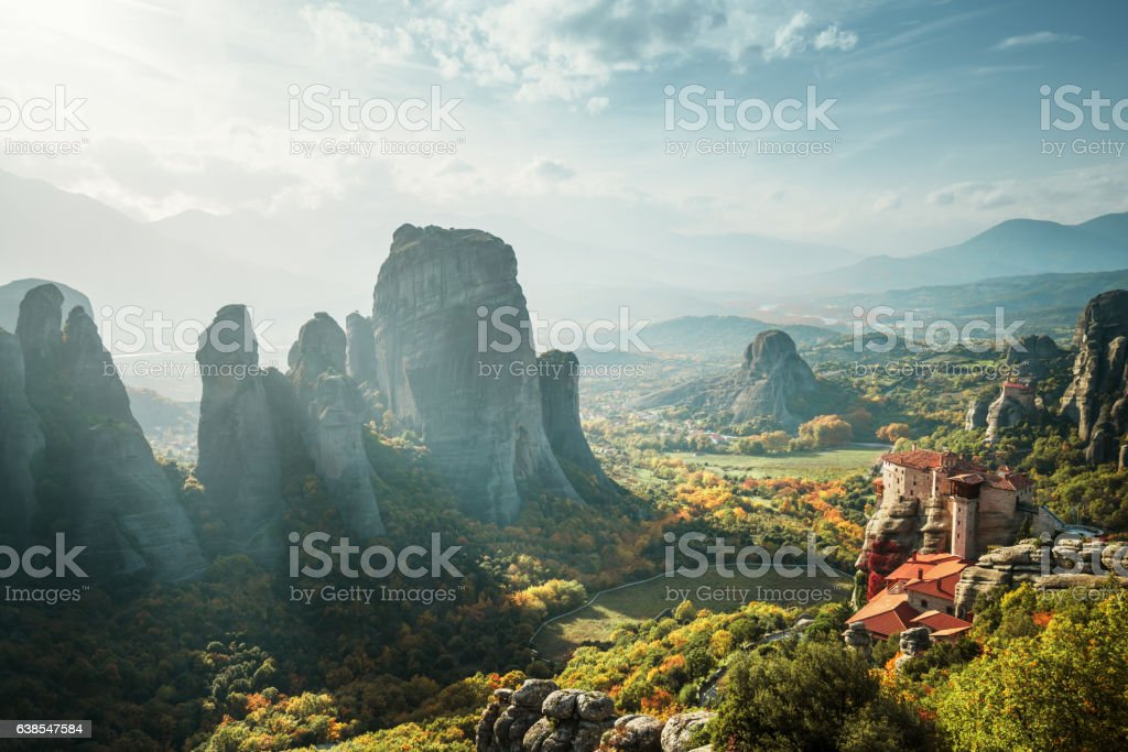 Meteora monasteries in Greece stock photo