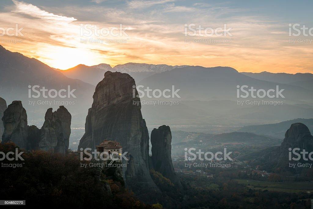 Meteora monasteries in sunset in Greece. stock photo