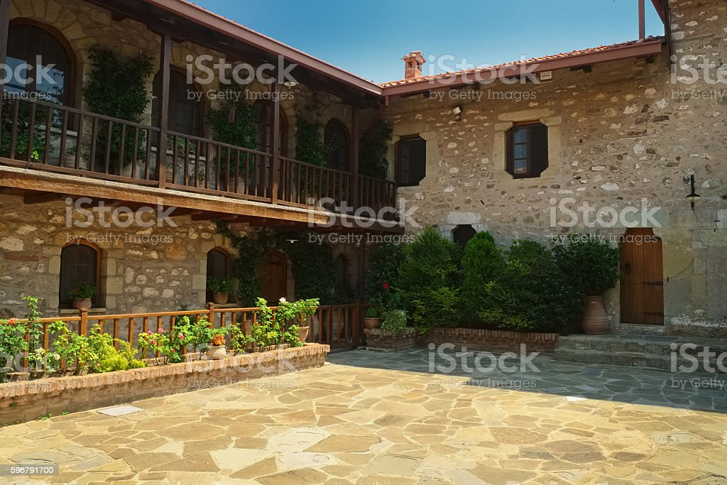 Meteora monastery yard Greece stock photo