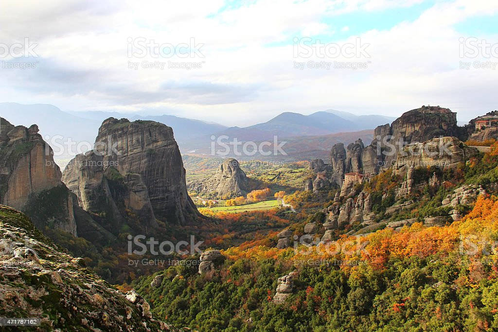 Meteora Rocks and Monasteries, Greece stock photo