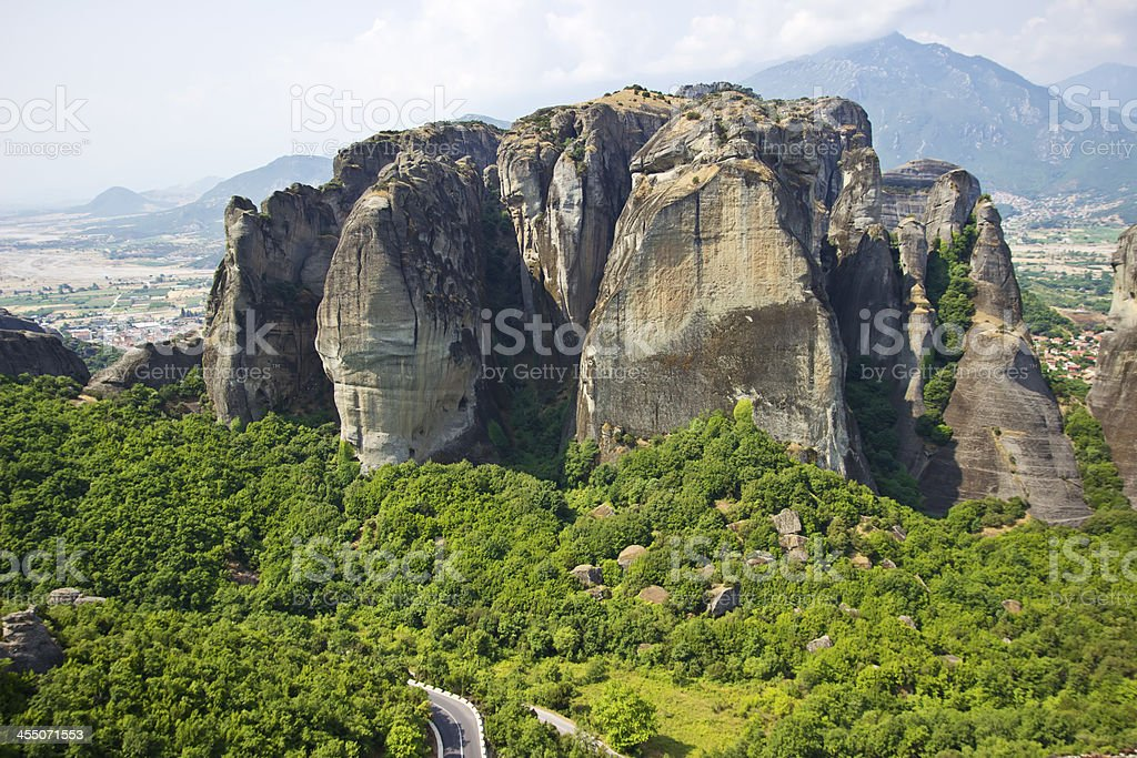 Meteora rocks landscape stock photo
