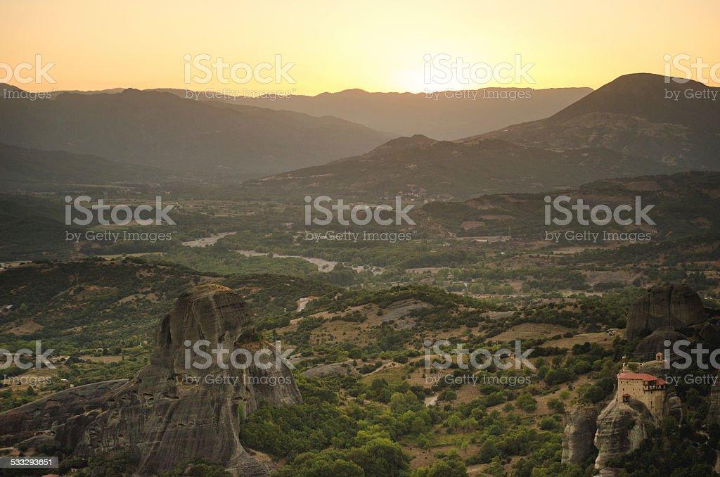 Meteora Sunset royalty-free stock photo