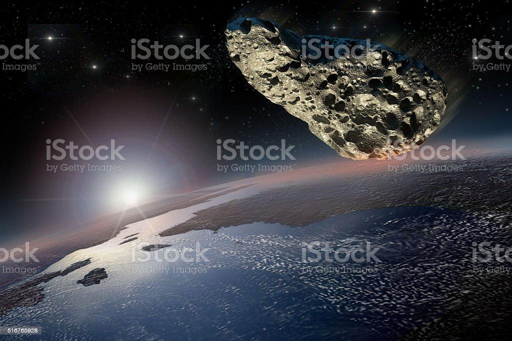 Meteorite close to Earth stock photo