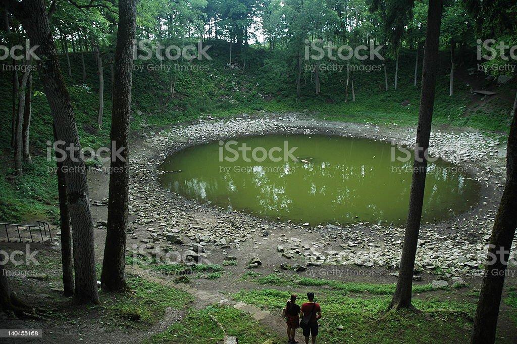 meteorite crater in Kaali stock photo
