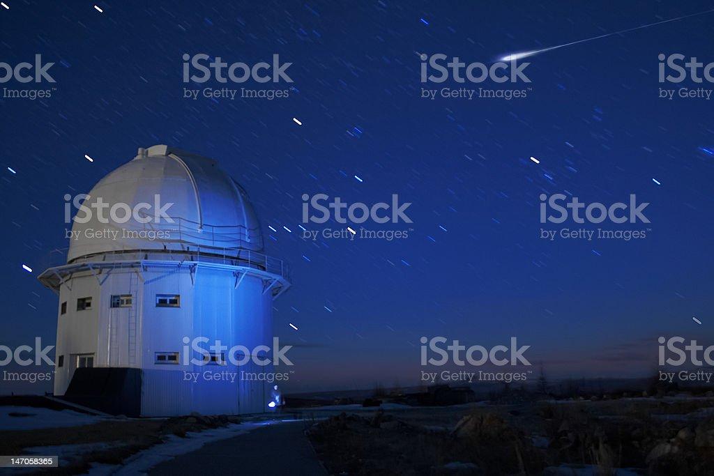 Meteorite falling stock photo
