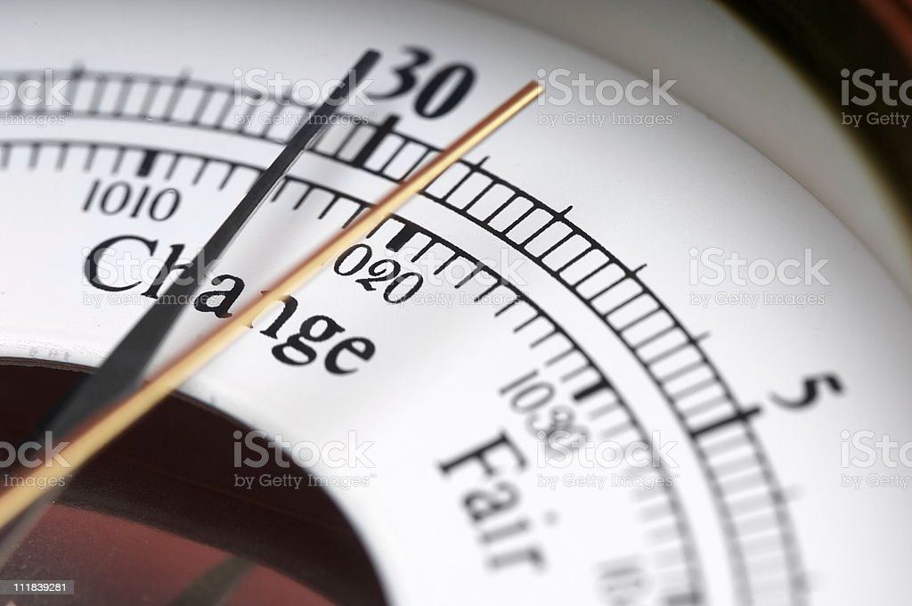 Meteorological Weather Predicting Barometer Close Up on Change stock photo