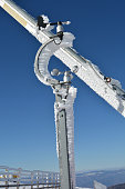 Meteorological wind gauge on the ski slope
