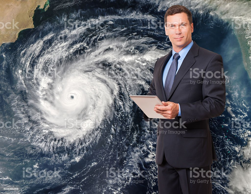 Meteorologist forcasting hurricane stock photo