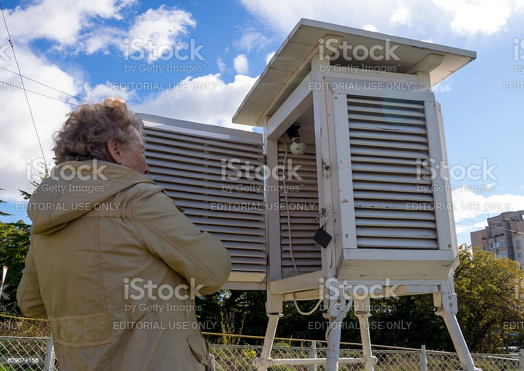 Meteorologist psychrometric booth opens at the weather station stock photo